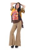 Meisje in kleurrijke die latino kleding op wordt geïsoleerd Royalty-vrije Stock Afbeelding
