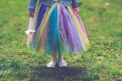 Meisje in kleurrijke tuturok stock fotografie