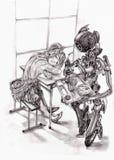 Meisje in koffie, robotkelner vector illustratie