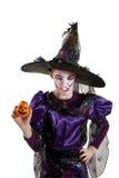 Meisje in kostuum Halloween Stock Foto's