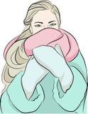 Meisje in laag en sjaal - de winterillustratie Stock Foto