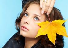 Meisje in leerjasje Royalty-vrije Stock Foto's
