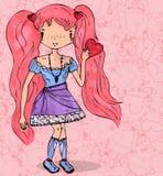 Meisje in liefde met hart van getrokken krabbel naadloze hand Royalty-vrije Stock Afbeelding