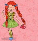 Meisje in liefde met hart van getrokken krabbel naadloze hand Stock Afbeeldingen