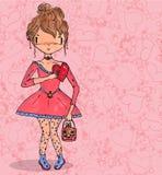 Meisje in liefde met hart van getrokken krabbel naadloze hand Stock Fotografie