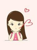Meisje in liefdebeeldverhaal Stock Foto