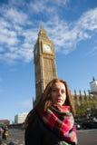 Meisje in Londen Big Ben Royalty-vrije Stock Afbeelding