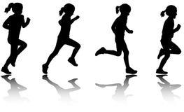 Meisje lopende silhouetten Stock Foto
