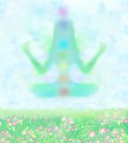 Meisje in lotusbloempositie Royalty-vrije Stock Afbeelding
