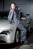 Meisje in mechanische eenvormig   Stock Foto