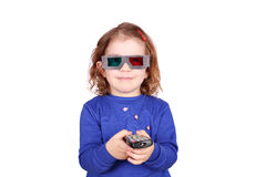 Meisje met 3d glazen Royalty-vrije Stock Afbeelding