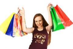 Meisje met aankopen Stock Afbeelding