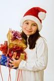 Meisje met aanwezige Kerstmis Stock Afbeelding