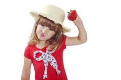 Meisje met aardbei Royalty-vrije Stock Fotografie