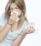 Meisje met allergieën stock foto's