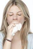 Meisje met allergieën Stock Afbeeldingen