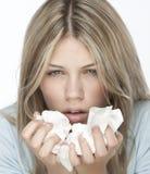 Meisje met allergieën royalty-vrije stock afbeelding