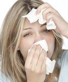 meisje met allergieën Stock Foto