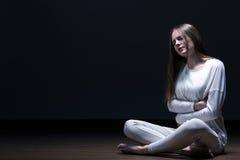 Meisje met anorexia nervosa's stock afbeelding