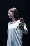 Meisje met anorexie Stock Foto