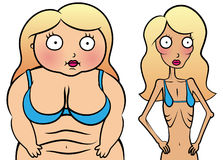 Meisje met anorexy en te zwaar meisje Royalty-vrije Stock Afbeeldingen