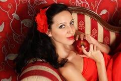 Meisje met appel stock afbeelding