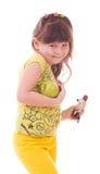 Meisje met appel en chocolade Stock Foto's