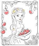 Meisje met appelen Royalty-vrije Stock Afbeelding