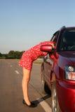 Meisje met auto 3 Stock Foto
