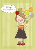 Meisje met ballon, de kaart van de verjaardagsgroet Stock Foto