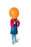 Meisje met ballon in plaats daarvan hoofd Royalty-vrije Stock Afbeelding