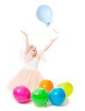 Meisje met ballons Stock Foto's