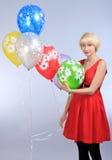 Meisje met ballons Stock Foto