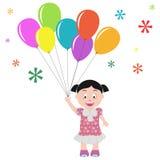 Meisje met ballons Stock Afbeelding