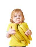 Meisje met banaan   Stock Afbeelding