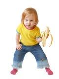 Meisje met banaan dat op wit wordt geïsoleerde Royalty-vrije Stock Afbeelding
