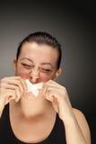 Meisje met band op lippen Stock Foto's