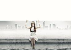 Meisje met banner Stock Afbeelding