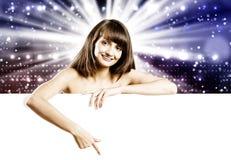 Meisje met banner royalty-vrije stock foto