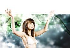 Meisje met banner Royalty-vrije Stock Afbeelding