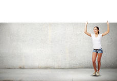 Meisje met banner stock foto