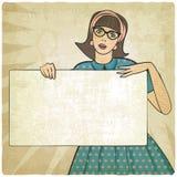 Meisje met banner in retro stijl stock illustratie