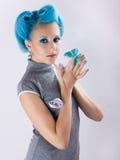Meisje met blauw haar Stock Foto's