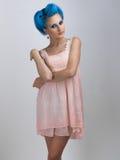 Meisje met blauw haar Stock Afbeelding