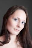 Meisje met blauwe ogenclose-up royalty-vrije stock afbeelding