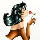 Meisje met bloem vector illustratie