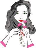 Meisje met bloemen royalty-vrije illustratie
