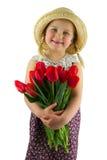 Meisje met bloemen Stock Foto