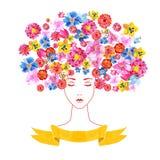 Meisje met bloemen en patroon Stock Fotografie