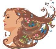 Meisje met bloemen en vlinders royalty-vrije illustratie